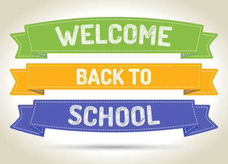 Welcome back to school - pen style text on colorized ribbons with shadow.