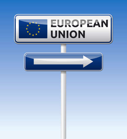 European union flag traffic board with arrow on blue sky background Illustration