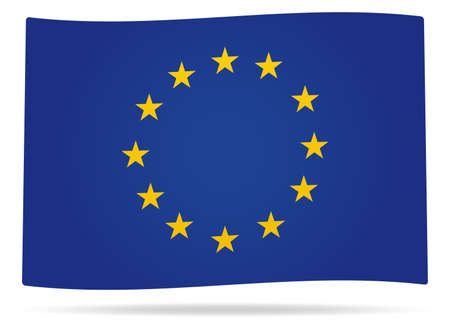 Waved European union flag with shadow Illustration