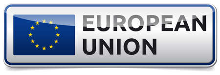 Isolated glossy Board with European union text and flag. White background, shadow.