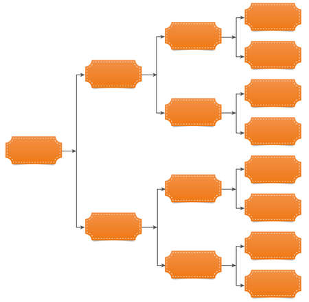 diagrama de arbol: Familia, equipo de diagrama de �rbol con la l�nea de flecha y la sombra Vectores