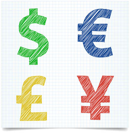 Pen style money sign on exercise book paper