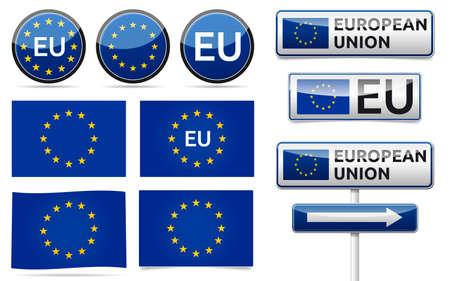 Avrupa Birliği bayrağı, trafik yönetim kurulu, beyaz zemin üzerine gölge ile afiş ve sembolleri koleksiyonu. AB ayarlayın.
