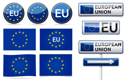 European union flag, traffic board, banner and symbols collection with shadow on white background. EU set.