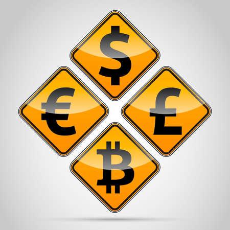 dolar: Euro, Dolar, Font, Libra, tablero tr�fico Bitcoin sobre fondo claro.