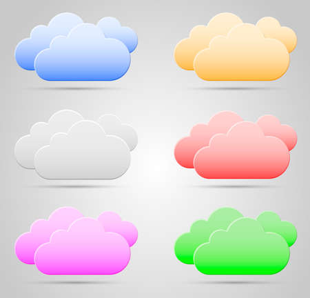 Color Clouds collection on gray background with shadow. Illustration