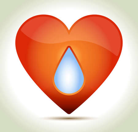 Glossy red heart with drop and shadow on light background. Vector