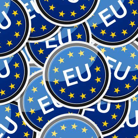 eu: EU - European flag, icon sticker style collection with shadow