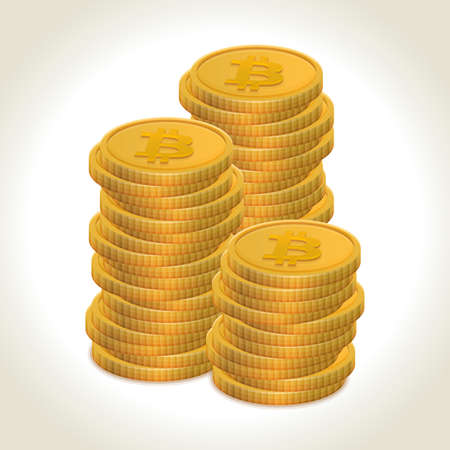 Bitcoin money coins with light shadow and background