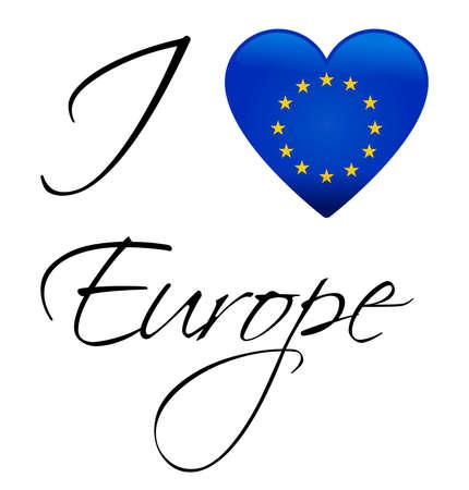 I Love Europe - European union flag Illustration