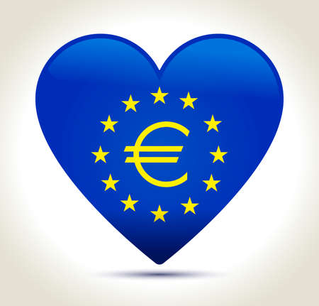 Euro money sign in blue heart with gold stars on light background Illustration