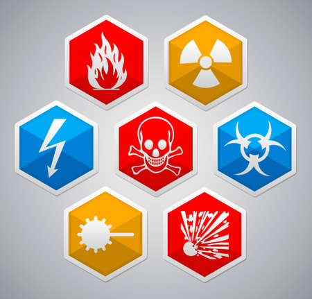 toxic substance: Danger sign - various color hexagon icon set with shadow on light background