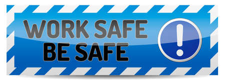 work safe: Blue Work safe board with reflection and shadow on white