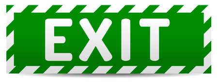 Green Exit board with reflection and shadow on white background