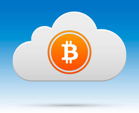 Bitcoin in cloud with shadow and blue sky background  Illustration