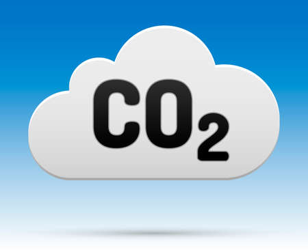 CO2 sign in cloud with shadow and background  Illustration