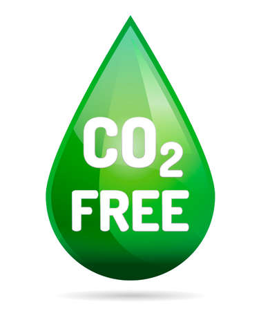 CO2 Free ECO drop with shadow on white background