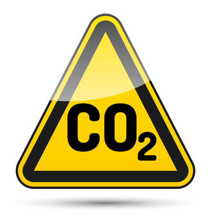 oxidizer: CO2 danger triangle sign with black border, reflection and shadow on white background
