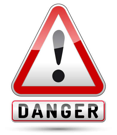 Exclamation mark danger sign with black border, reflection and shadow on white background
