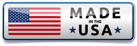USA flag, United States of America - glossy button banner with reflection and shadow on white background