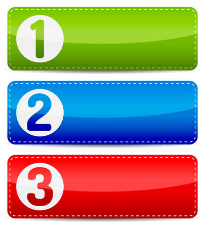 Numbered color step list infographics banner template with shadow on white background. Ilustração