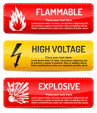 Flammable, High Voltage, Explosive - Danger, hazard sign on warning banner with light gradient reflection and shadow on white background Vector