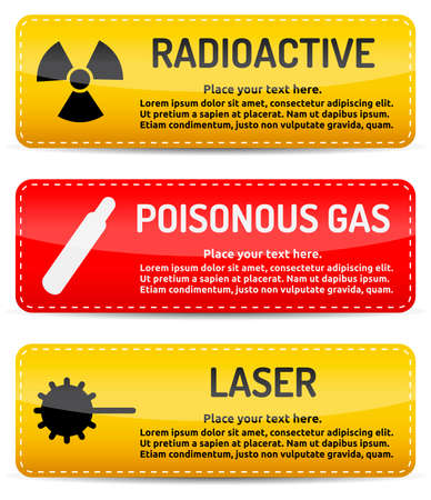 laser hazard sign: Radioactive, Poisonous Gas, Laser - Danger, hazard sign on warning banner with light gradient reflection and shadow on white background