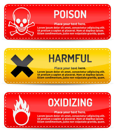 poison sign: Poison, Harmful, Oxidizing - Danger, hazard sign on warning banner with light gradient reflection and shadow on white background