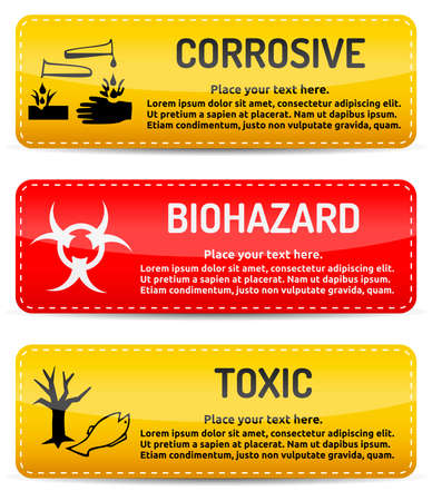chemical hazard: Corrosive, Biohazard, Toxic - Danger, hazard sign on warning banner with light gradient reflection and shadow on white background Illustration