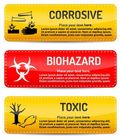 Korozif, Biohazard, Toksik - beyaz arka plan üzerinde ışık degrade yansıma ve gölge ile afiş uyarı üzerine Tehlike, tehlike işareti Illustration