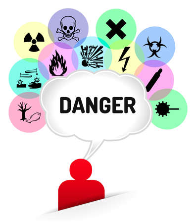 Thinking man, speech bubble with many danger sign on colored circle Stock Vector - 28508052