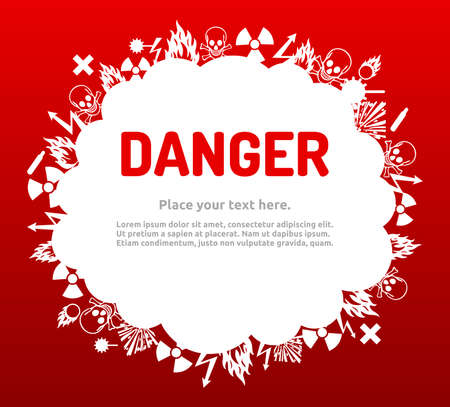 oxidizer: Danger sign set in cloud banner for your text. Hazard symbol template.