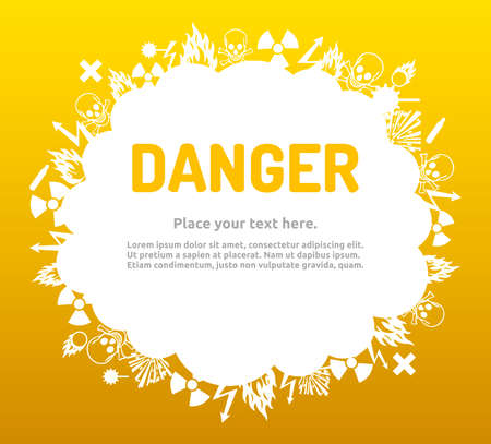 Danger sign set in cloud banner for your text. Hazard symbol template.