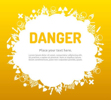 bio hazardous: Danger sign set in cloud banner for your text. Hazard symbol template.