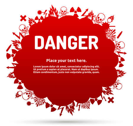 oxidant: Danger sign set in cloud banner for your text. Hazard symbol template.