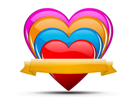 Glossy colored hearts with ribbon and shadow on light background - for your text.