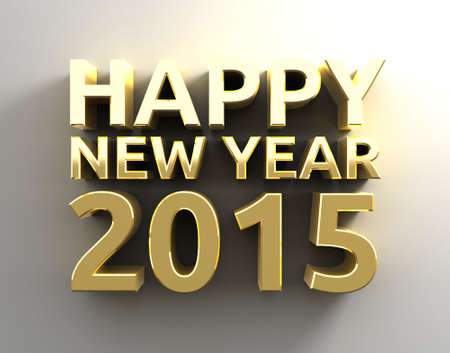 Gold 3D Happy new year 20015 template background photo