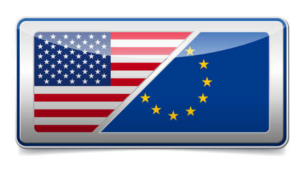 USA - EU sign board with shadow on white background Illustration