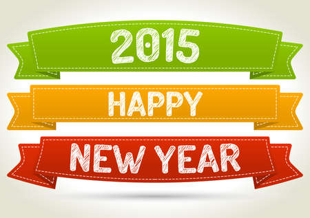 Happy new year 2015 on three different color ribbon with shadow on light background.