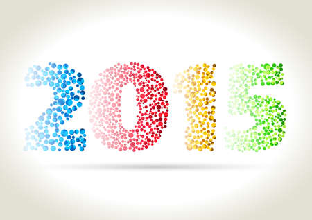 Happy new year 2015 - four different dotted color number with shadow on light background.