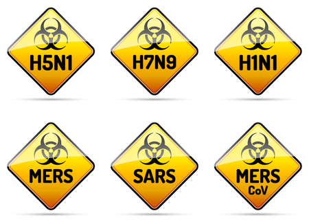 flu prevention: MERS SARS H5N1 Biohazard virus warning sign collection with reflect and shadow on white background Illustration