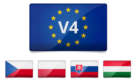 visegrad: V4 Visegrad group summit - Czech republic, Poland, Slovakia, Hungary flag with reflection and shadow - Middle European country