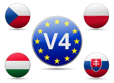V4 Visegrad grubu zirve - Çek Cumhuriyeti, Polonya, Slovakya, yansıma ve gölge ile Macaristan bayrağı - Orta Avrupa ülkesi