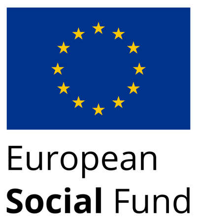 fund world: European Social Fund - standard and proprtional sign with EU flag and text - flat design on white background Illustration