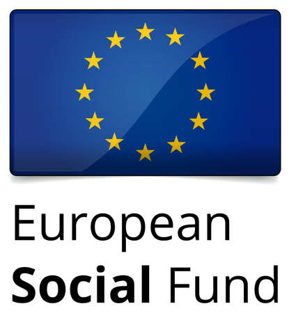 fund world: European Social Fund - glossy design with EU flag, text and shadow on white background