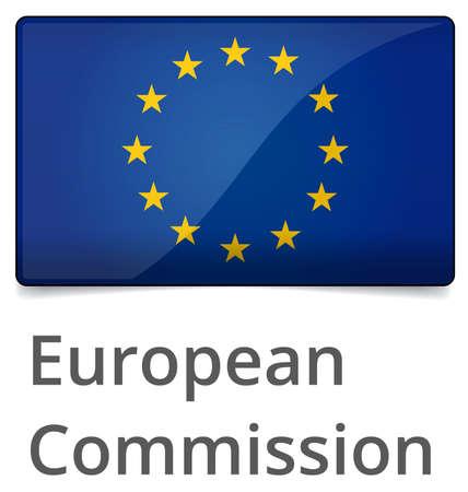 Avrupa Komisyonu, standart oransal işareti - beyaz arka plan üzerinde gölge ile parlak tasarım