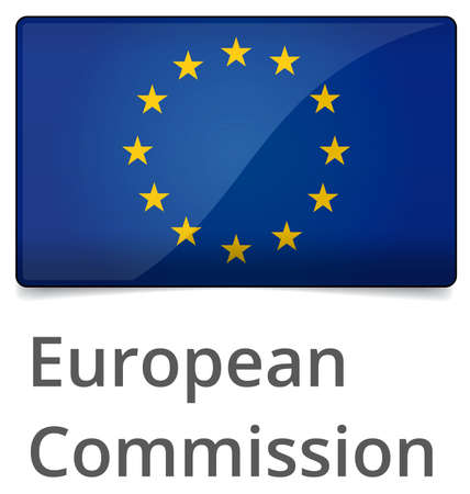 European Commission standard proportional sign - glossy design with shadow on white background