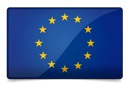proportional: Europe flag correctly and proportional with round corner, glossy design and shadow on white background