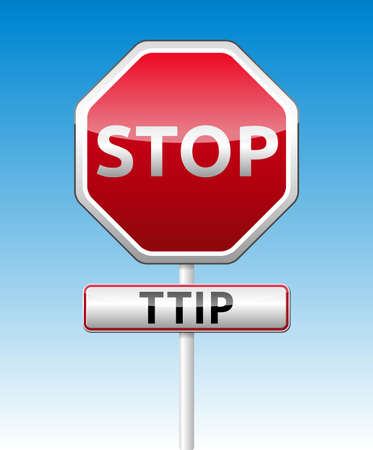 TTIP - Transatlantic Trade and Investment Partnership glossy stop traffic sign with shadow on sky background Stock Vector - 29881738