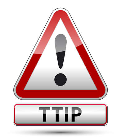europa: TTIP - Transatlantic Trade and Investment Partnership glossy illustration with shadow on white background